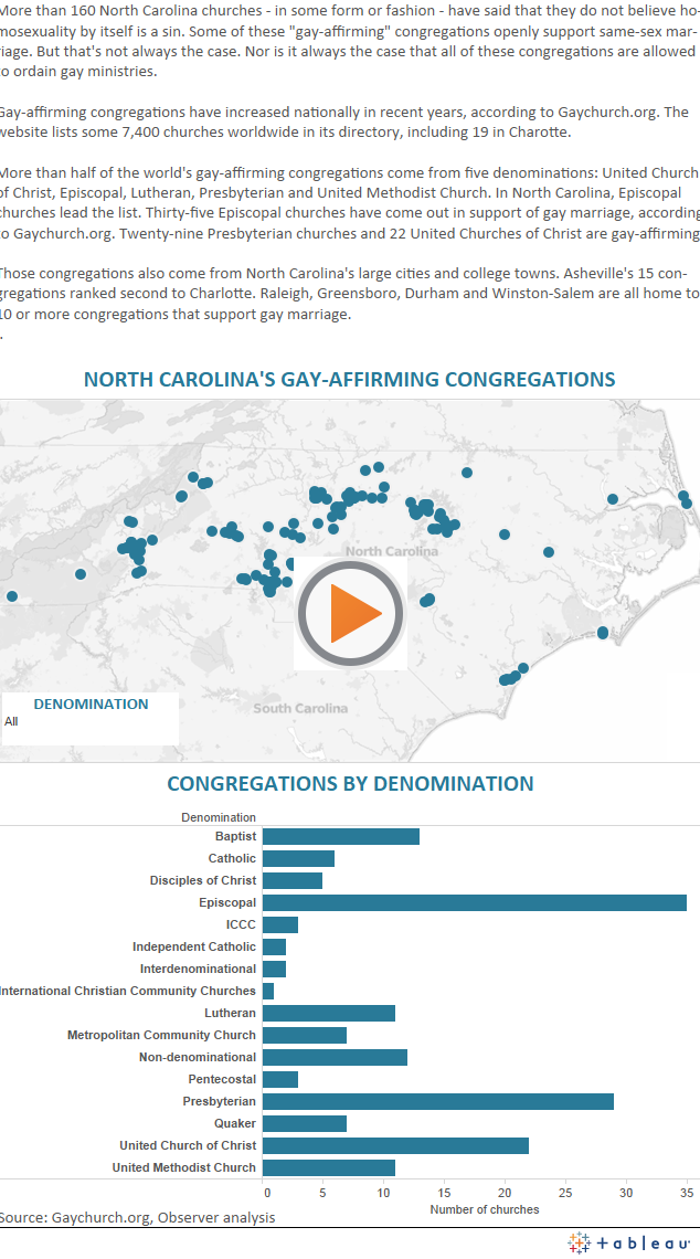 Map of North Carolina Gay-Affirming Churches